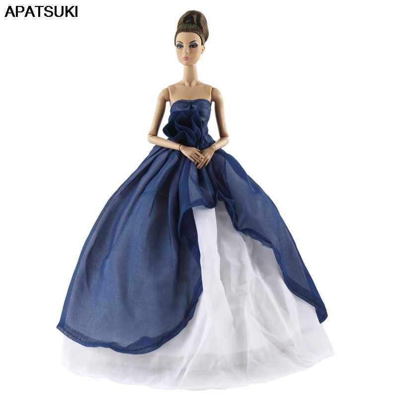 DOLL CLOTHES HANDMADE BARBIE DRESS DARK BLUE WITH STARS