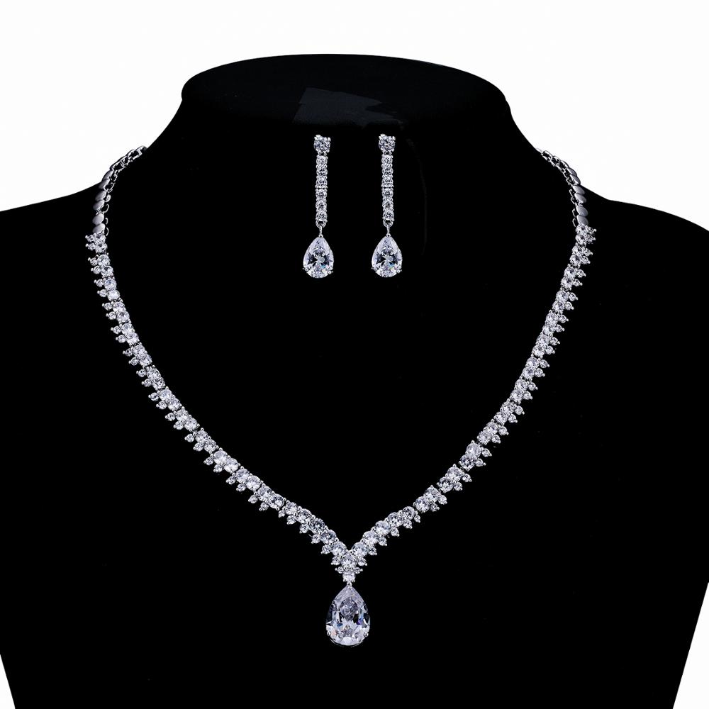 Gorgeous New Full 5A Cubic Zirconia Bride Wedding Necklace Earring Set Top Quality Women Prom Party Jewelry Sets CN10036