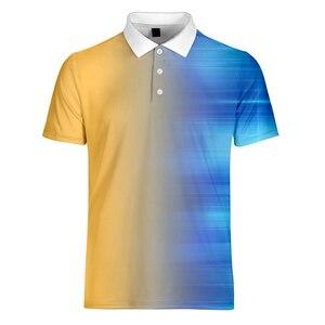 Image 2 - WAMNI Brand Fashion Men Gradient Shirt Casual Sport Simple 3D Male Patchwork Short Sleeve Turn down Collar shirt