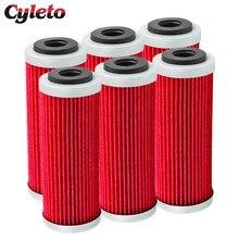 4/6 sztuk Cyleto filtr oleju do motocykla dla KTM SX SXF SXS EXC EXC-F EXC-R XCF XCF-W XCW SMR 250 350 400 450 505 530 2007-2016