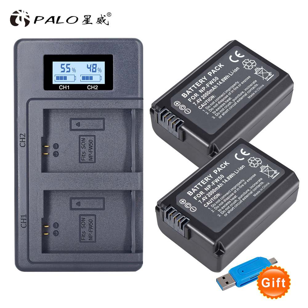 2pcs 2000mAh <font><b>NP</b></font>-<font><b>FW50</b></font> <font><b>NP</b></font> <font><b>FW50</b></font> Camera <font><b>Battery</b></font> + LCD USB Dual Charger for <font><b>Sony</b></font> Alpha a6500 a6300 a6000 a5000 a3000 NEX-3 a7R image