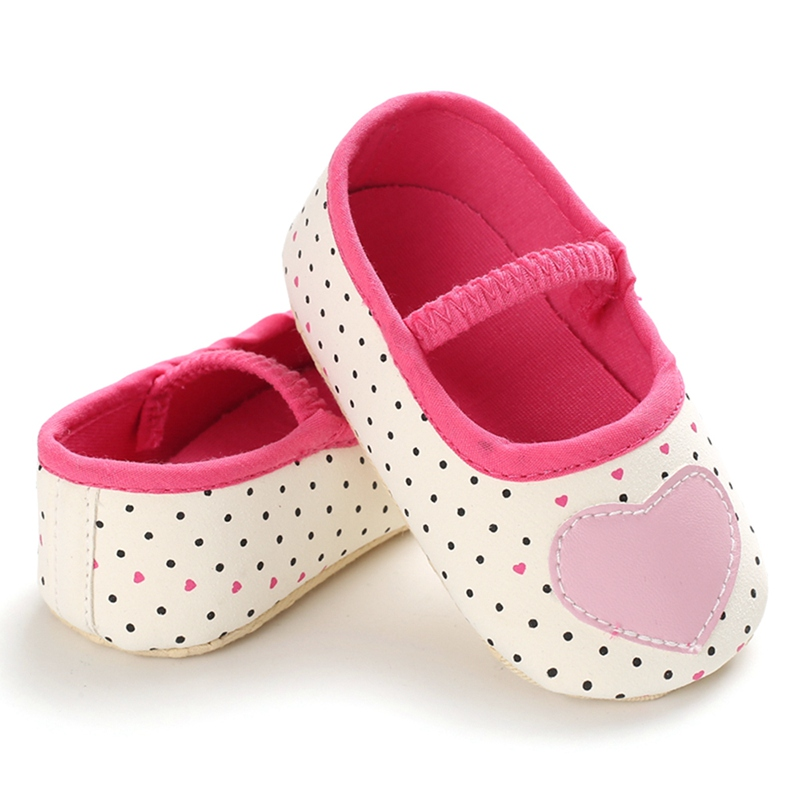 Baby Shoes Newborn Baby Girls Fashion Dot Print Love  Anti-Slip First Walkers Soft Sole Shoes Hook&Loop Chaussure Bebe Fille New