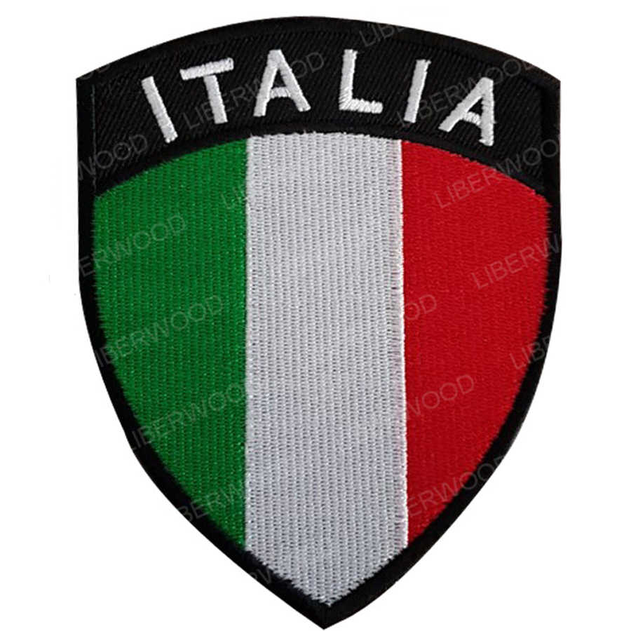 Flag patch embroidered iron sew badge backpack italia italy flag