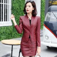 Two Piece Leather Outfits Autumn Winter Sets Korean Women PU Leather Blazers Jackets and Leather Skirt 2 Piece Set