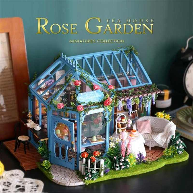 Róża do samodzielnego wykonania meble ogrodowe meble dom dla lalek led light z led 3d drewniana miniaturowa dekoracja do domu prezenty świąteczne