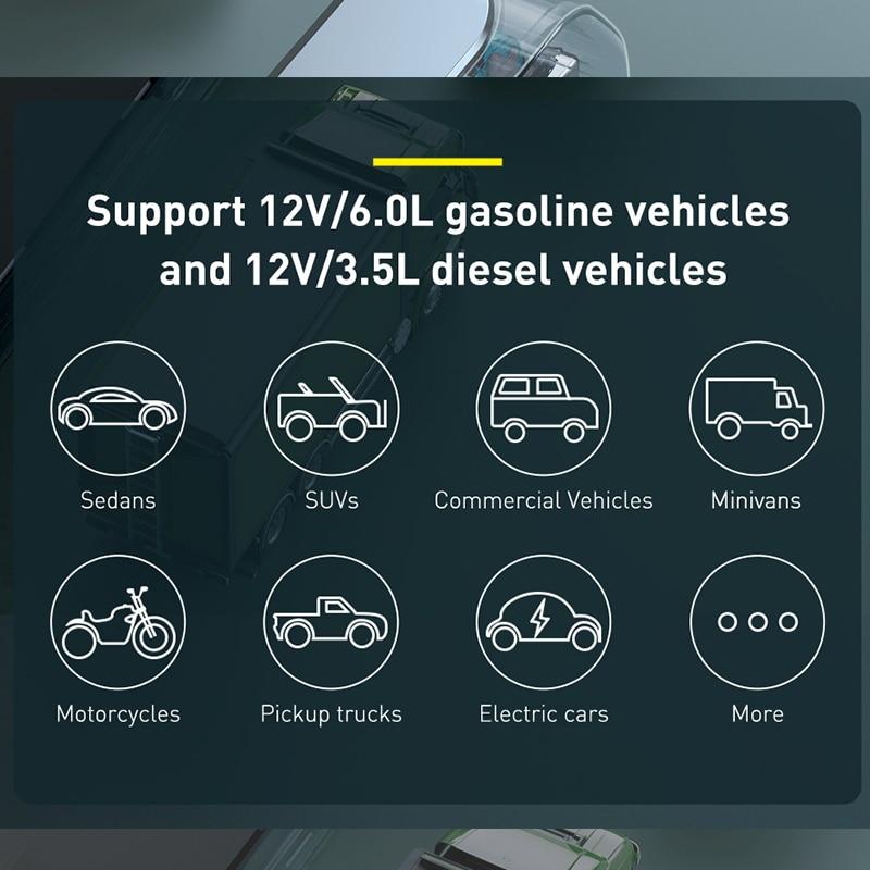Baseus – démarreur de saut de voiture 1000A, batterie Portable 12000mAh, Station de démarrage d'urgence pour voiture 3.5L/6L 3
