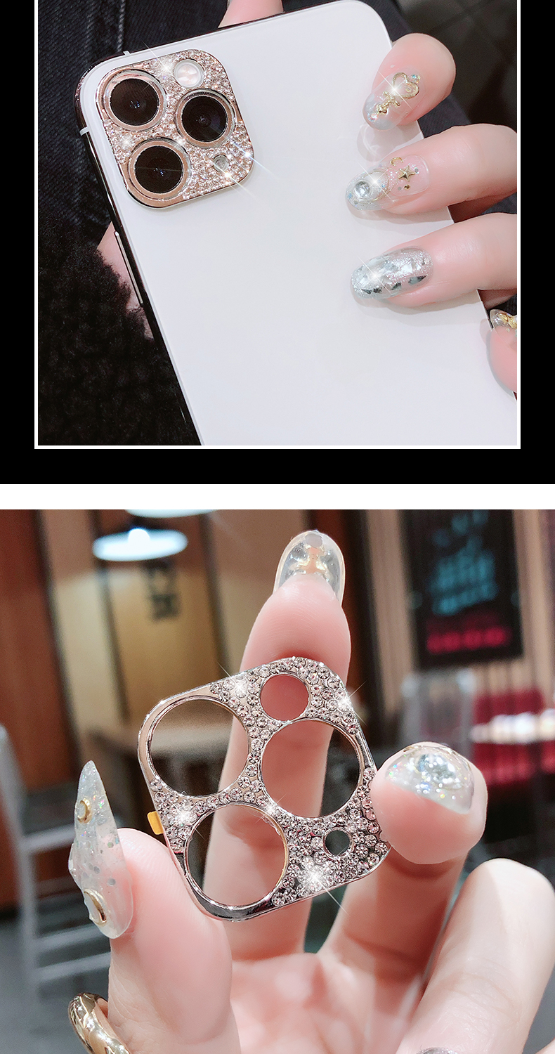 Bling Diamond Glitter Rhinestone Camera Protective Lens For iPhone 11 Pro Max Ring 11