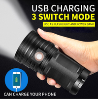 5000 Lumens 4T6 4 x T6 LED USB Rechargeable Flashlight Torch 18650 Light Input/Output 5V/1A Power Bank