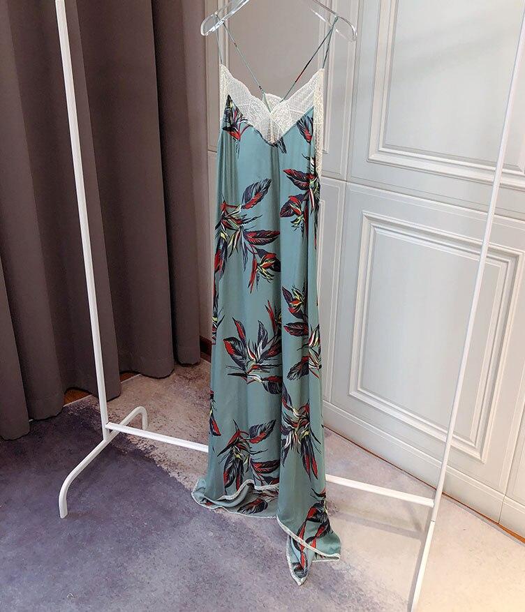 Niebieski zielony długi iris drukowane TITO KILIM Midi sukienka z dekoltem w serek z koronki wykończenia cienkie strappy długa sukienka bez rękawów w Suknie od Odzież damska na  Grupa 1