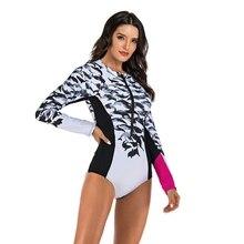 Женский купальник Рашгард с длинным рукавом, Цельный купальник с цветочным принтом, на молнии сзади, для серфинга, для дайвинга, серфинга, купальный костюм