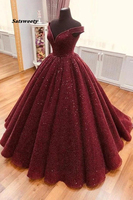 2020 Sparkle Ball Gown V Neck Burgundy Off the Shoulder Prom Dress Quinceanera Dresses Vestidos De 15 Anos Sweet 16 Dresses