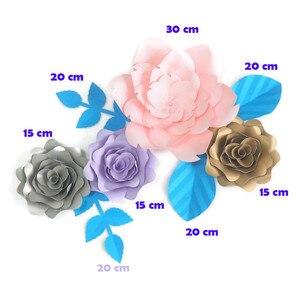 Сделай Сам искусственные цветы фон гигантская бумага Роза 4 шт + 4 листья для свадебной вечеринки украшение для детского душа