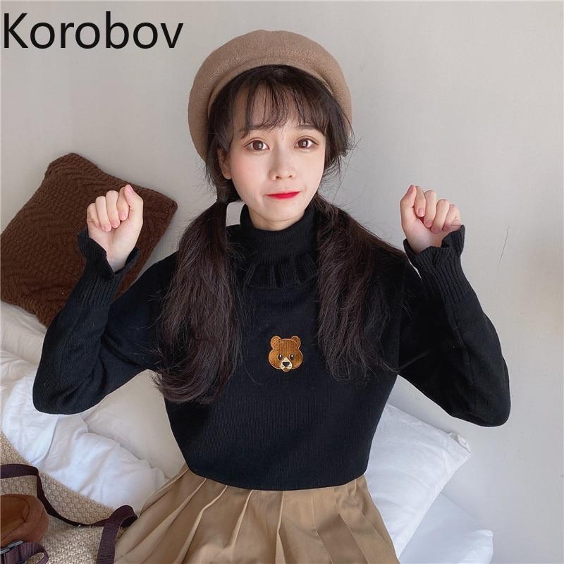 Korobov, японский стиль, милый мультяшный женский свитер, Kawaii, с оборками, водолазка, милая, базовая, Sueter Mujer, тонкие пуловеры 79320