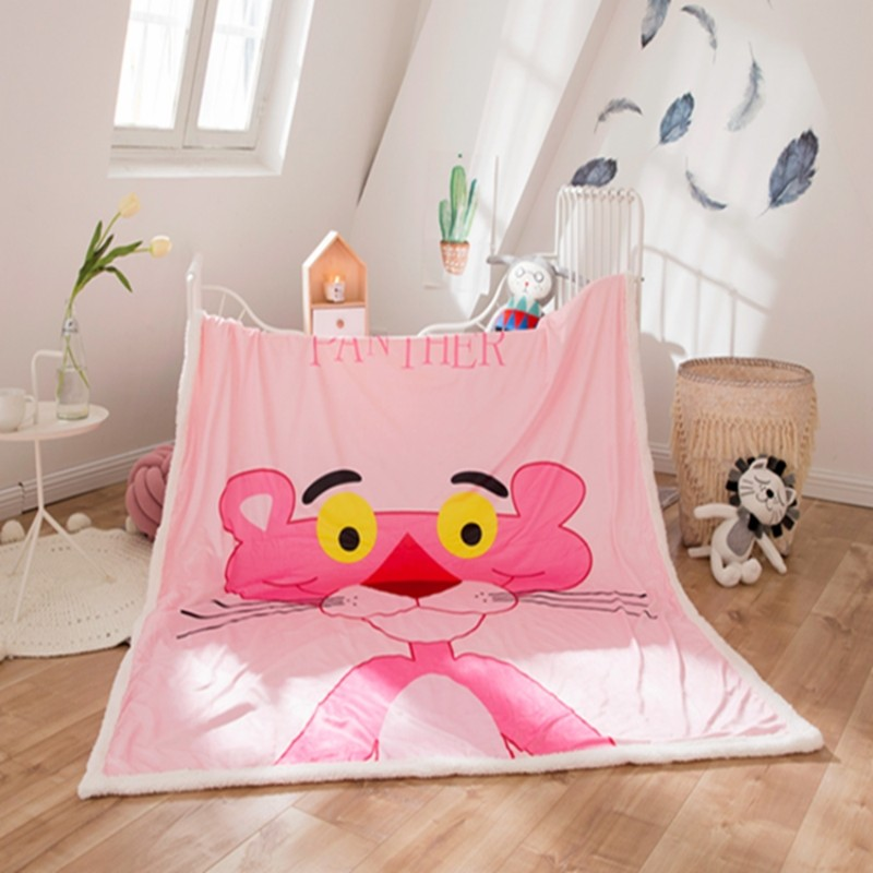 Cartoon Pink Panther Polar Fleece Winter Children Blankets Sherpa Backing On Bed/Crib/Couch 150x200cm Blanket Girls Boys Gift