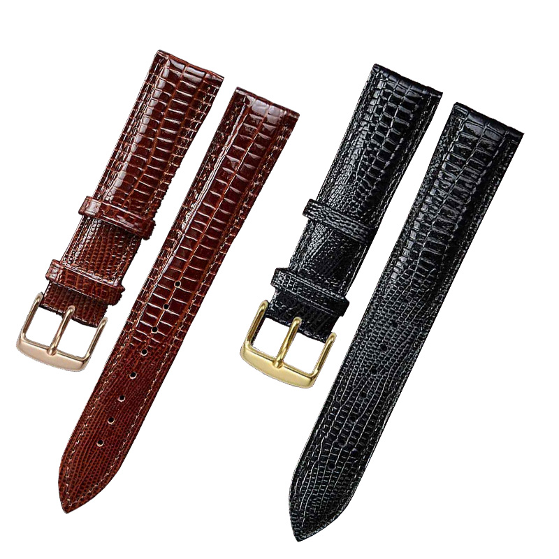 Fashion Watch Band Leather Wristband Watch Accessories Lizard Pattern Pin Buckle Strap Belt For Top Luxury Brand Women Watch
