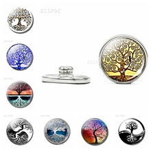 18mm Tree of Life Glass Dome Snap Botton Klimt Of DIY Jewelry for Friends Special Christmas New Year  Gifts