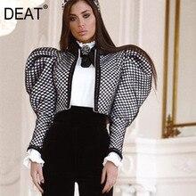 DEAT новая осенняя и зимняя модная женская одежда, стиль подиума, высокое качество, женское платье с пышными рукавами, короткая куртка WJ8060