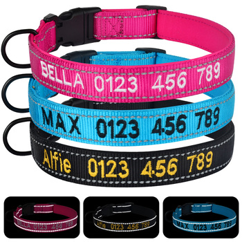 Airuidog Adjustable Nylon Dog Collar Personalized Embroidered Padded Dog Collar Puppy ID Collars Reflective