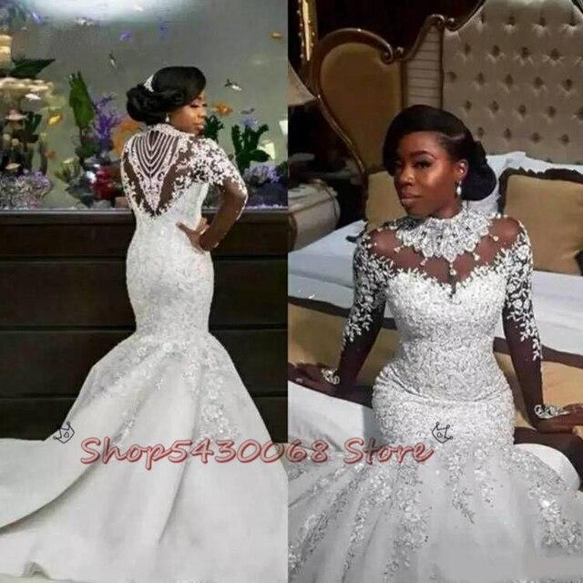 Luxury Crystals African Mermaid Wedding Dresses 2020 Zipper Back Long Sleeve Heave Beaded Bride Dress Vestido De Noiva 3