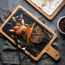 1PCS Bamboo Marble Dinner Plate Cheese Tray With Handle European Dinnerware Food steak Tray kitchen tools camvate qr top cheese handle with 70mm nato rail