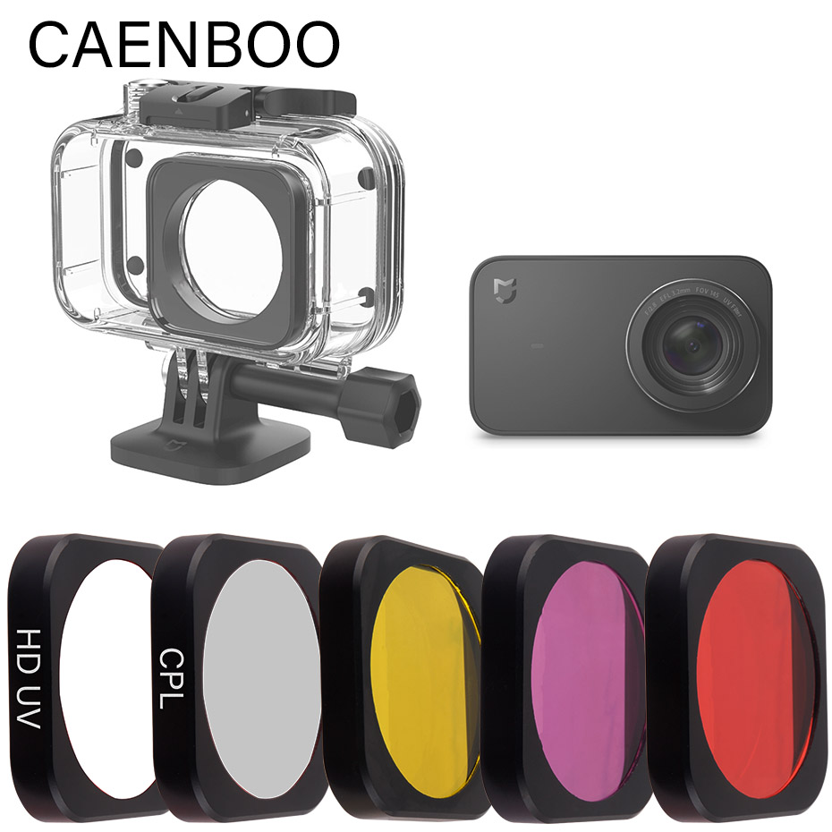 CAENBOO Mijia Action Camera Original Housing Accessories UV PL Red Yellow Magenta Diving Filter On Case For Xiaomi Mijia 4K Mini