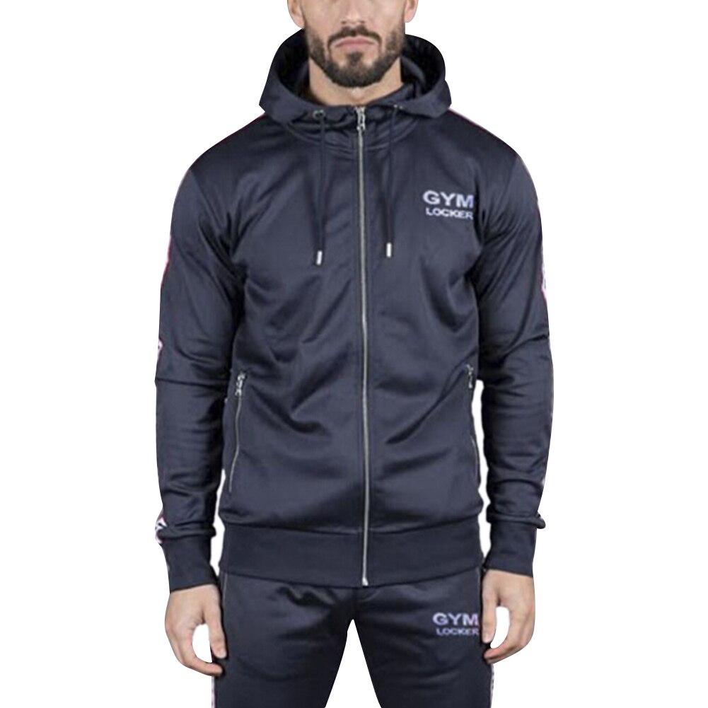 Men Hoodie Zip Jacket Coat Sweatshirt Slim Fit Long Sleeve Casual Jumper Outwear Mens Sports Running Tops Clothes