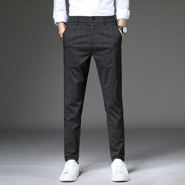 Jantour 2020 Spring New Casual Pants Men Slim Fit Plaid Fashion Gray black Trousers Male Brand Clothing business work pant 28-38 38