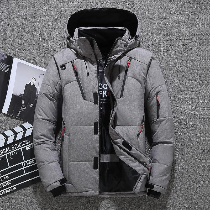 2019 Winter Men's Down Parka Jacket Coat,  Male Short Thick Windproof Hooded Parka Green Black Blue Gray Orange M-3XL