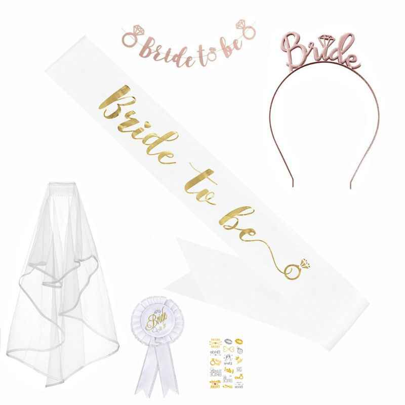 Bachelorette Hen Party Decorations Kit Bride to Be Sash Veil Badge Glasses Banner Headband Tattoos Night Out Supplies