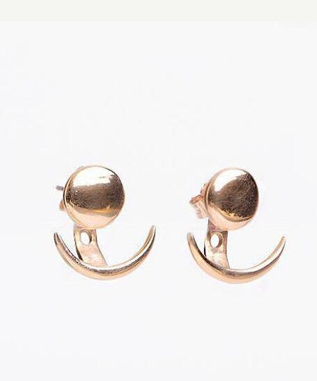Moon Phase Ear Jacket  Geometric Round Ear Jacket Earrings