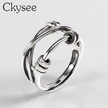 Ckysee Anillo de plata de primera ley trenzada para mujer, sortija ajustable, plata esterlina 925, varias capas, ajustable, 925
