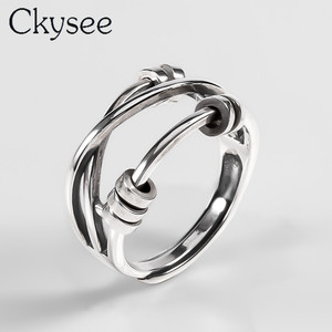 Image 2 - Ckysee Unique Simple 925 Sterling Silver Adjustable Rings Braided Band Multi layers Finger Ring 925 Silver Jewelry