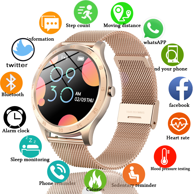 LIGE New Women Smart Watch Woman Fashion Watch Heart Rate Sleep Monitoring For Android IOS IP67 Waterproof Ladies Smartwatch Box