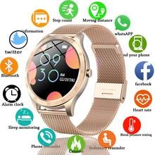 Lige novas mulheres relógio inteligente mulher moda relógio de monitoramento de freqüência cardíaca sono para android ios ip67 à prova dip67 água senhoras smartwatch + caixa