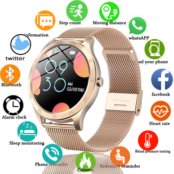LIGE New Women Smart Watch Woman Fashion Watch Heart Rate Sleep Monitoring For Android IOS IP67 Waterproof Ladies Smartwatch+Box
