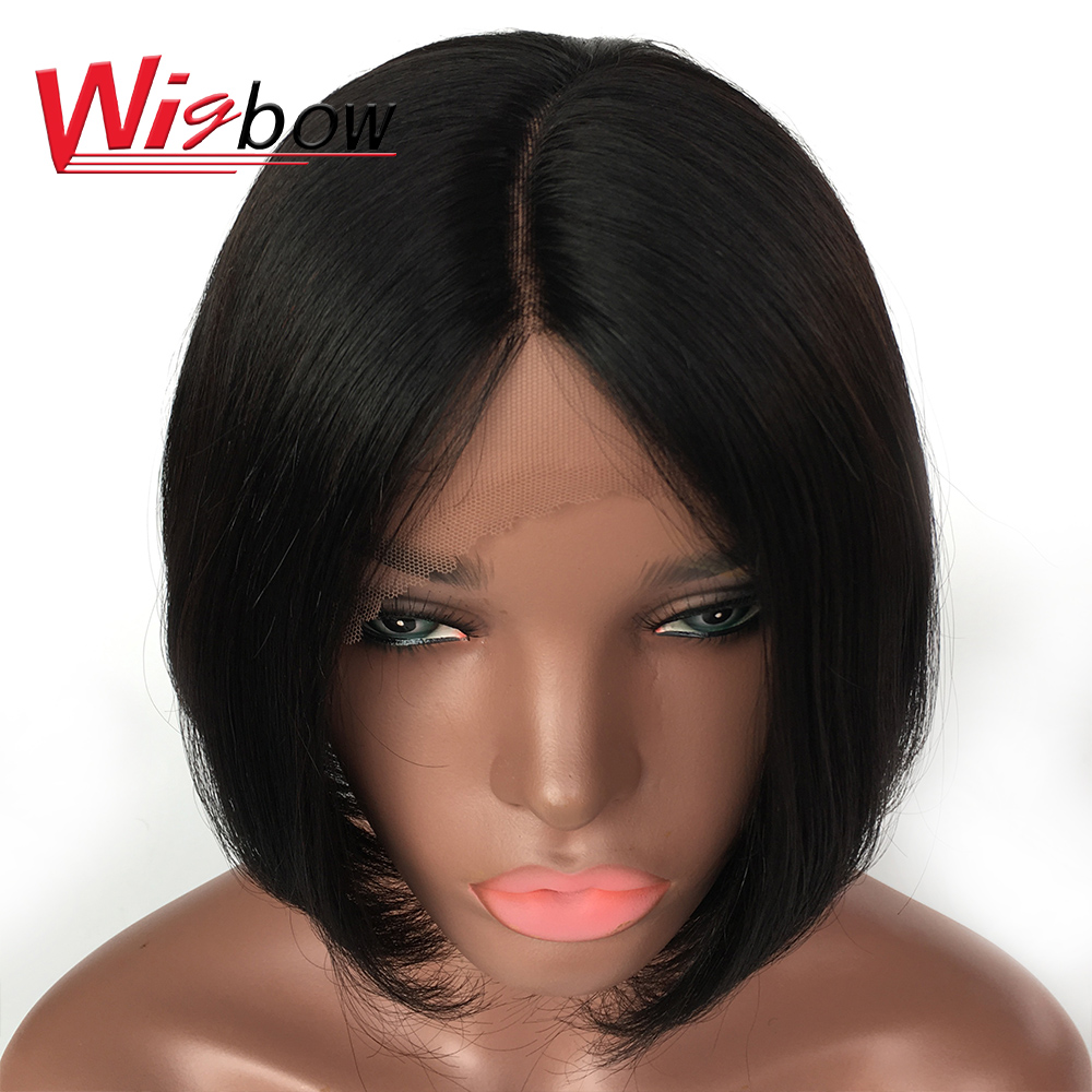 Human Hair Wigs 100% Short Remy Brazilian Hair Wigs Middle Part Lace 180% Density Straight Hair Wigs