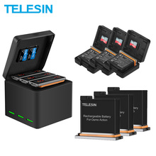 TELESIN 3 Pack Battery + 3 Slots Battery Storage Charger TF Card Storage Box for DJI Osmo Action Camera Accessories