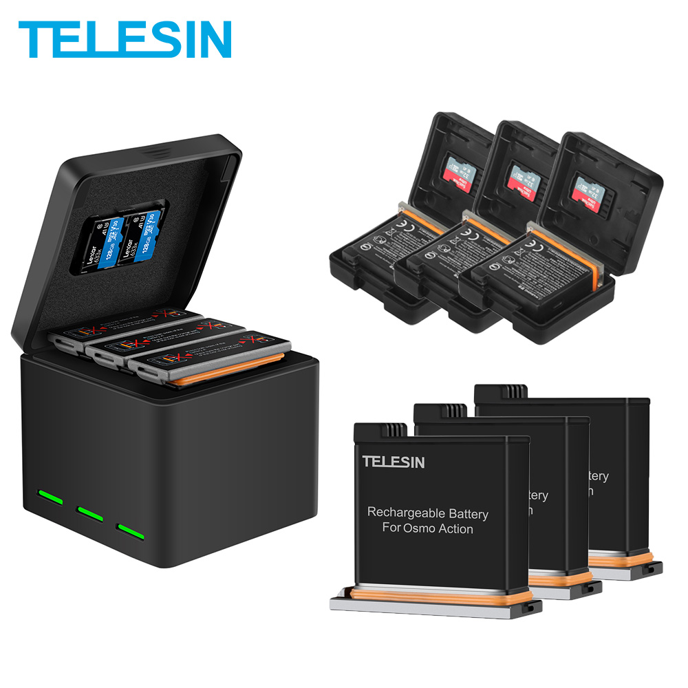 Telesin 3 Pack Battery + 3 Slots Battery Storage Smart Charger Tf Card Storage Box For Dji Osmo Action Camera Accessories Attractive And Durable