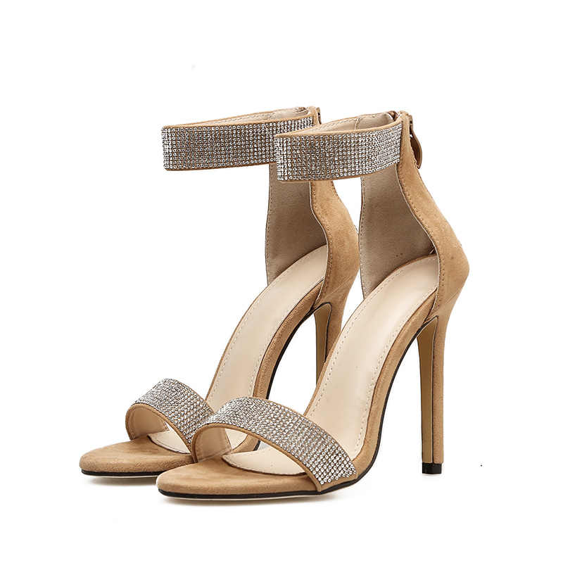 MCCKLE yaz 2020 kristal kadınlar Bling sandalet kadınlar sivri burun fermuar kadın seksi Stiletto yüksek topuklu parti düğün ayakkabı yeni