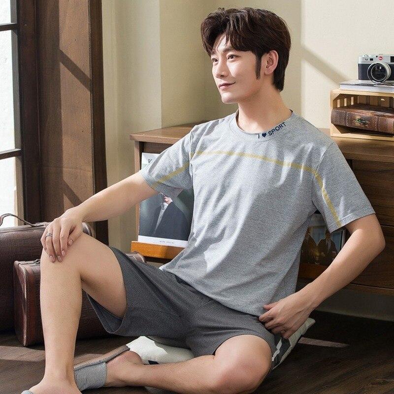 Men's Short-sleeved Shorts Pajamas Set Summer Thin Round Neck Hedging Korean Youth Home Service