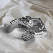 Novo amor romântico abraço cinzelado anéis de mão criativo amor para sempre dedo aberto ajustável anel de mão para mulher moda masculina jóias