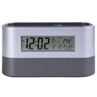 Escritório desktop armazenamento caneta titular ferramentas recipiente de cartão de nome com despertador digital temporizador calendário termômetro temperatura