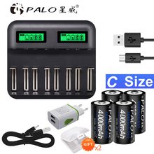 PALO 4pcs C size Rechargeable Battery NiMh+USB Fast charge C D Battery Charger LCD for Size AA AAA SC C D Battery NiMh NiCd 1.2V цена 2017