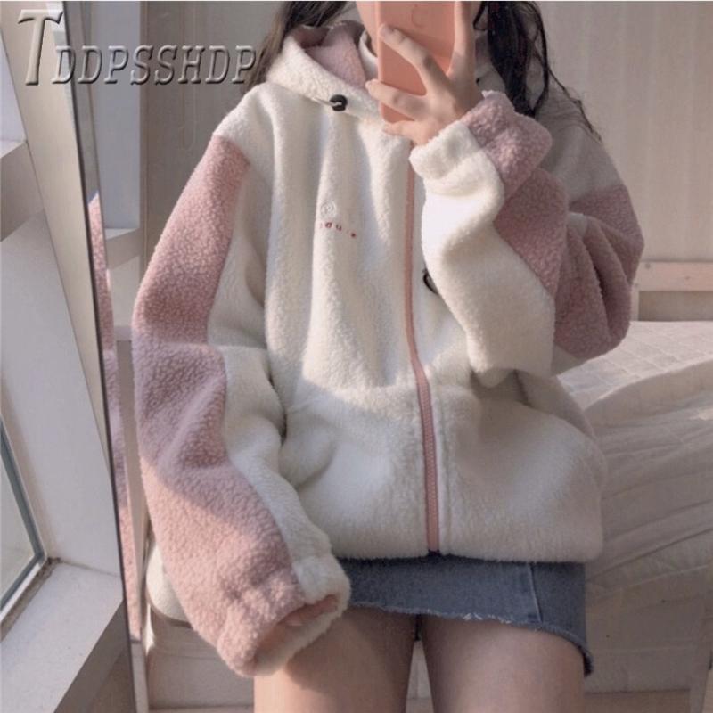 Женская куртка из овечьей шерсти в Корейском стиле с вышивкой, Осень зима 2019 Куртки      АлиЭкспресс