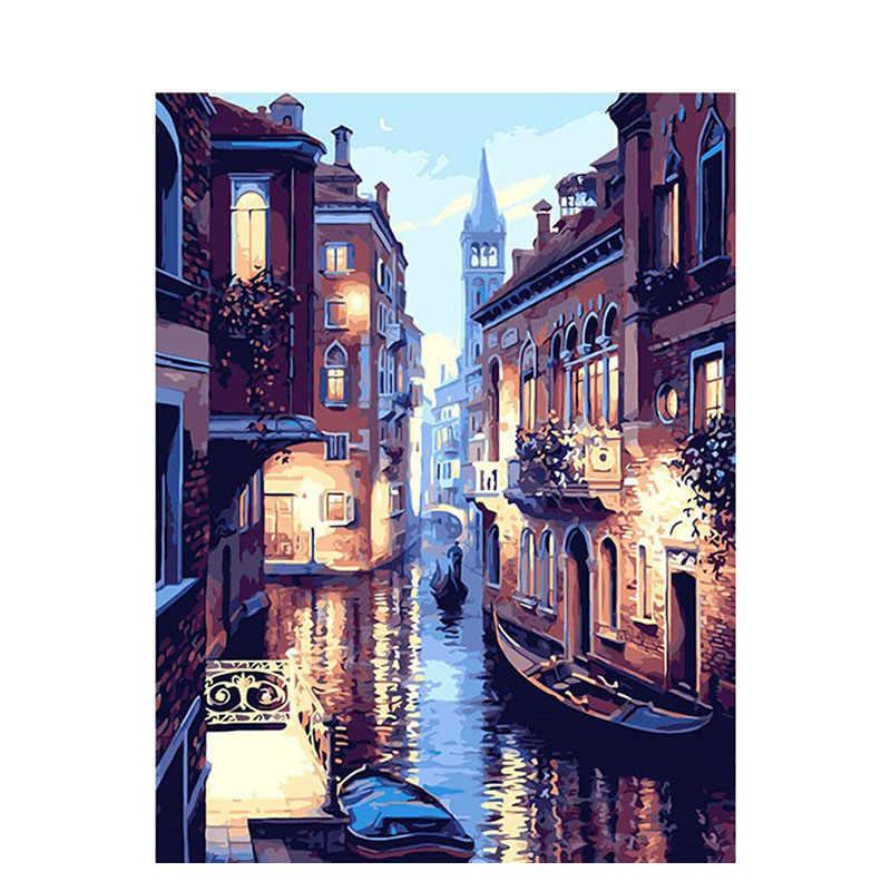 Gityztory-peinture à l'huile par numéros de peinture de paysage, décoration murale, dessin, peinture à la main