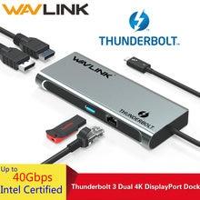 Док станция wavlink thunderbolt 3 usb c dual 4k @ 60hz displayport
