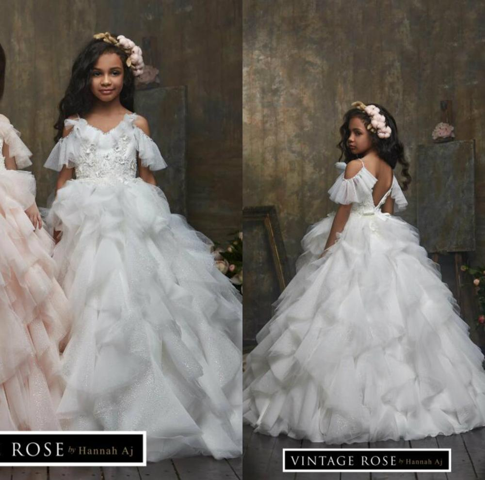 Sparkly Glitter Flower Girl Dresses Lace Appliqued Beaded Spaghetti Kids Pageant Dress Little Gilrs First Communion Gowns