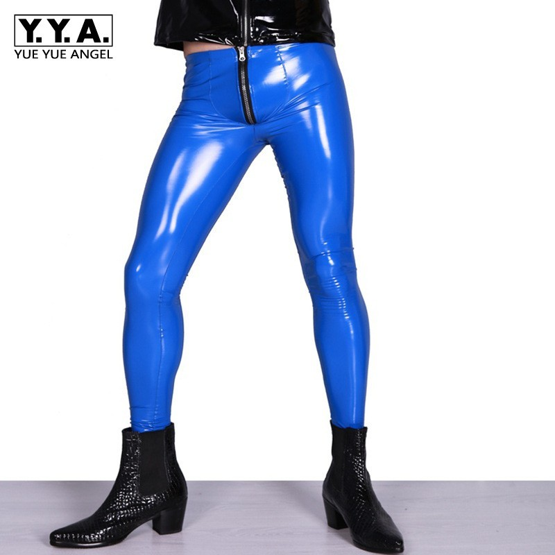 Fashion New Mens Gothic Sexy Bright PU Leather Ankle Length Pants Shinny Low Waist Zipper Fly Solid Mens Pencil Pants Plus Size