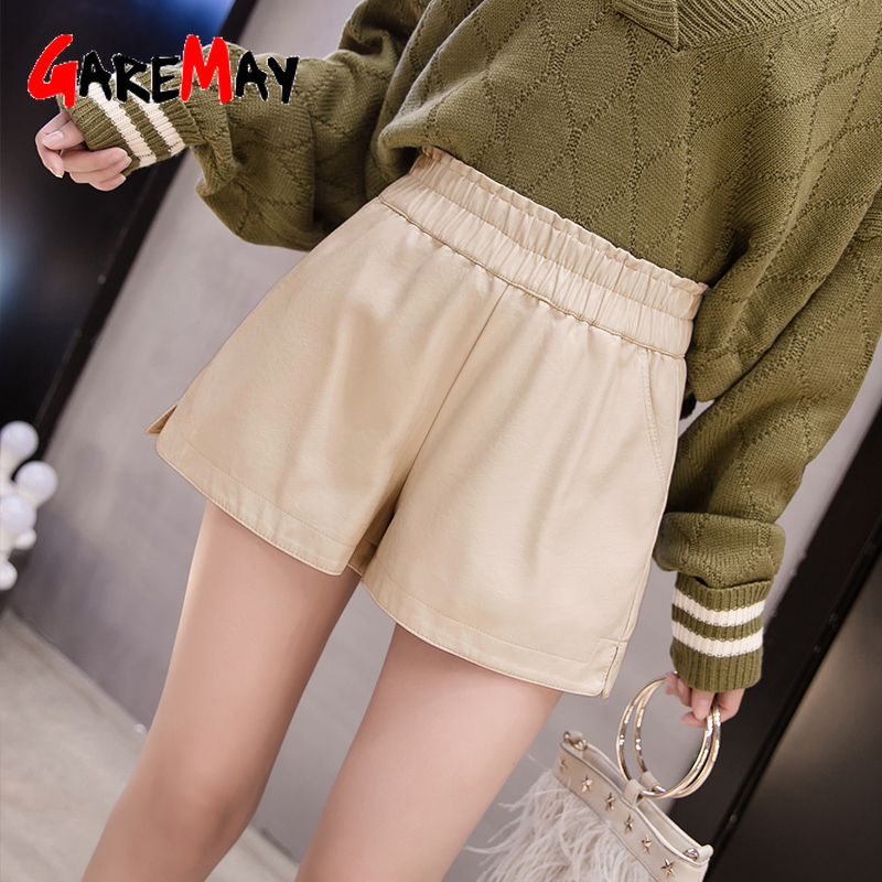 GareMay 2019 autumn winter women's leather shorts women black with high waist korean style plus size PU female shorts for women