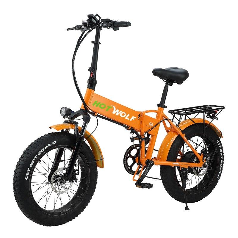 HOT WOLF Fat шина электрический велосипед 750 Вт 48V12.8AH складной алюминиевый сплав 20 * 4,0 двойной shockbeach Ebike круизер электрический велосипед